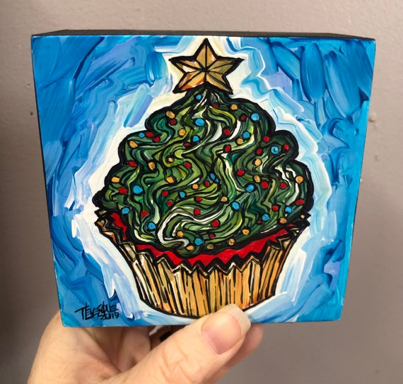 "4x4"" Christmas Tree Cupcake Whimsical Holiday original acrylic painting by Tracy Levesque"