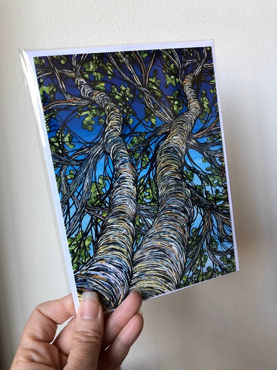 """5x7"""" Birch Trees greeting card with envelope in archival sleeve by Tracy Levesque"""
