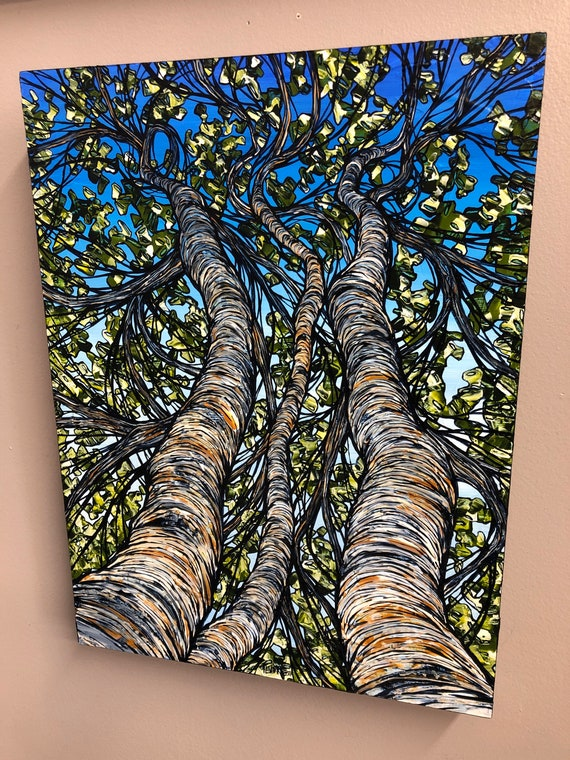 """Summertime Birch Trio, 12x16"""" Original acrylic painting by Tracy Levesque"""