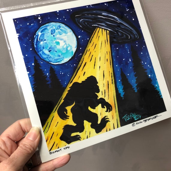 "Bigfoot Sasquatch UFO 8x8"" metallic photographic print by Tracy Levesque"