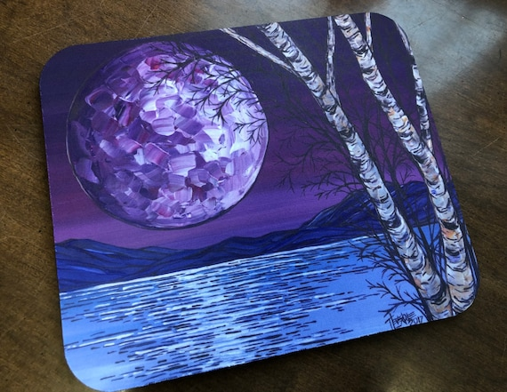 Super Moon Purple Full Moon on the Water Nature Lover Mousepad