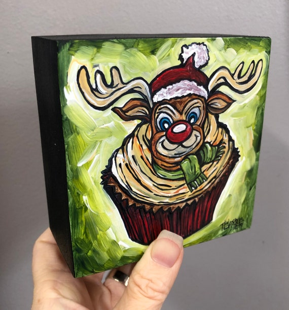 "4x4"" Rudolph the Red Nosed Reindeer Whimsical Holiday Cupcake painting by Tracy Levesque"