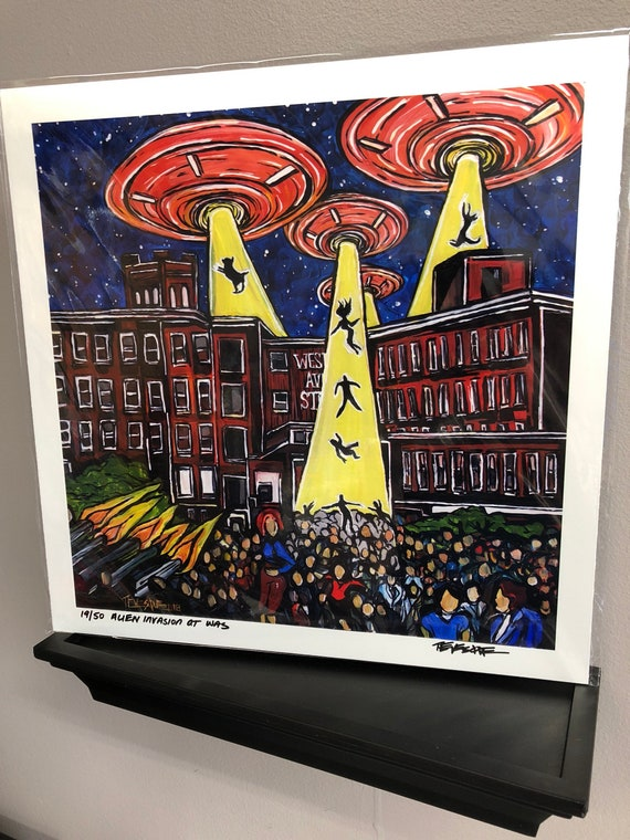 """Alien Invasion of Western Avenue Limited Edition Metallic Print 12x12"""" in Archival Sleeve by Tracy Levesque"""