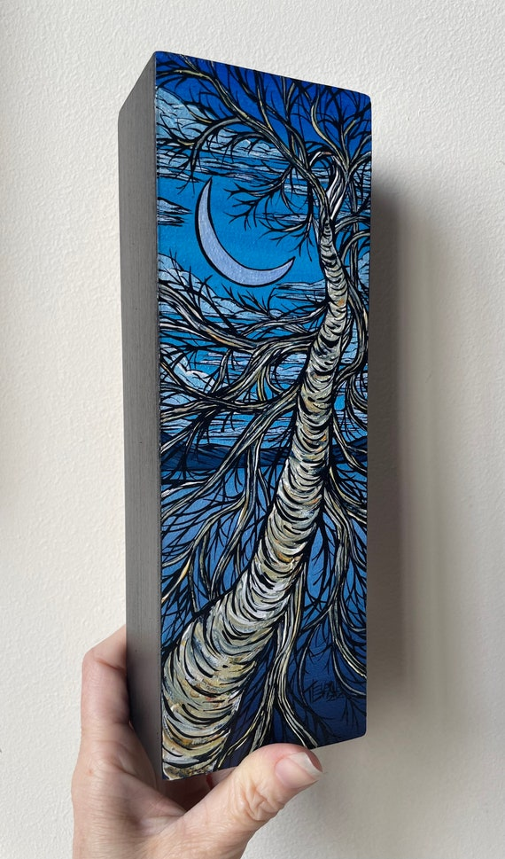 """3x9"""" Birch Sky Crescent Moon original acrylic painting by Tracy Levesque"""