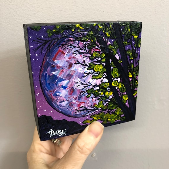 "4x4"" Purple Super Moon Tree original acrylic painting by Tracy Levesque"