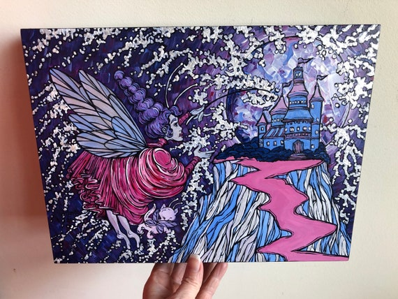 """9x12"""" The Purple Fairy and the Enchanted Castle original acrylic painting by Tracy Levesque"""
