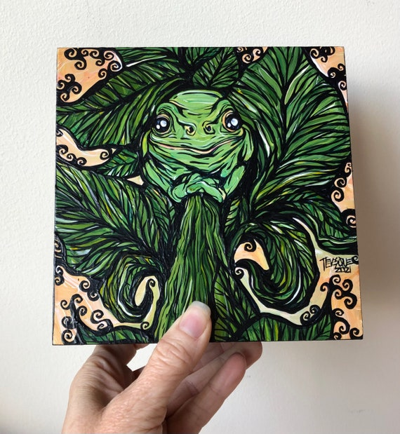 """6x6"""" Tree Frog Climbing a Tree original acrylic painting by Tracy Levesque"""