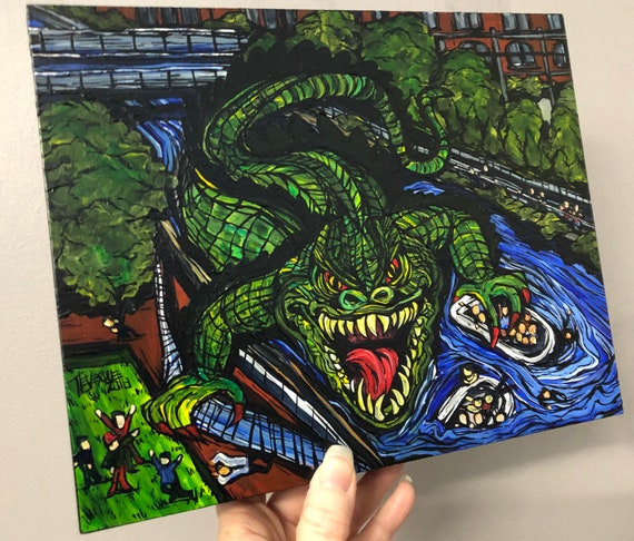 """The Canaligator's Revenge Lowell Monster 8x10"""" original acrylic painting by Tracy Levesque"""