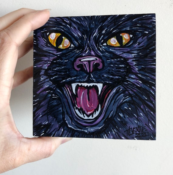 "4x4"" Fangpurra Black Cat original acrylic painting by Tracy Levesque"
