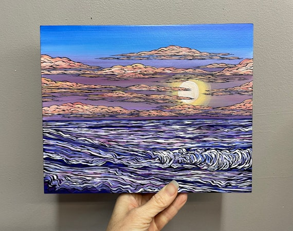 """8x10"""" Gentle Waves Beautiful Sunrise Over the Ocean Seascape painting by Tracy Levesque"""