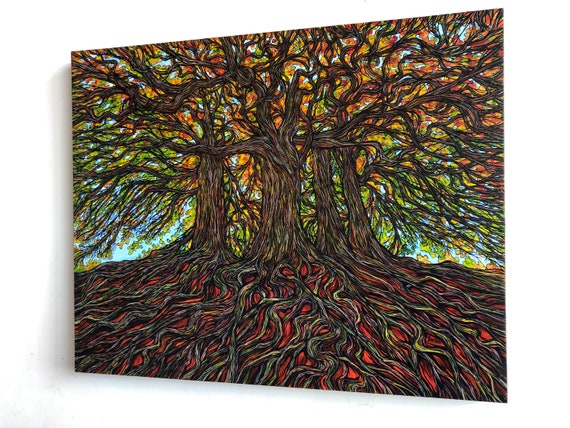 "24x30"" Ancient Copper Beech Trees at Avebury Henge original acrylic painting by Tracy Levesque"