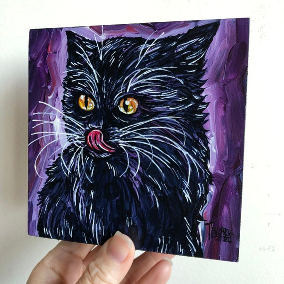 "5x5"" *SLURP* adorable kitten black cat original acrylic painting by Tracy Levesque"