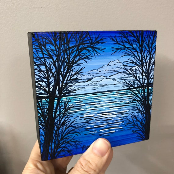 "4x4"" The Blue Day original acrylic painting by Tracy Levesque"