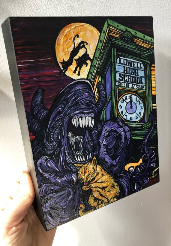 """Meet Me Under the Clock Alien Cat Lowell Monster 6x8"""" original acrylic painting by Tracy Levesque"""
