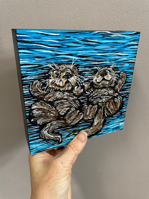 """6x6"""" Otter Loves Afloat original acrylic painting of swimming otters by Tracy Levesque"""
