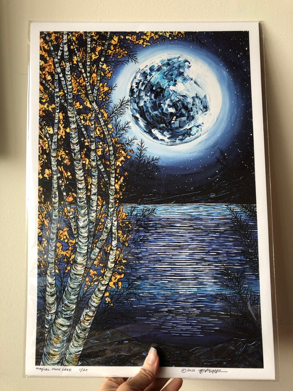 """12x18"""" Giclee Print of Magical Moon Lake by Tracy Levesque (unmatted fine art print)"""
