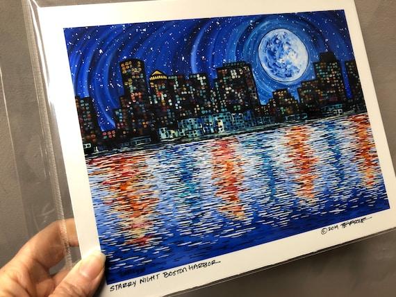 "Starry Night Boston Harbor 8x10"" Metallic Photographic Print by Tracy Levesque"