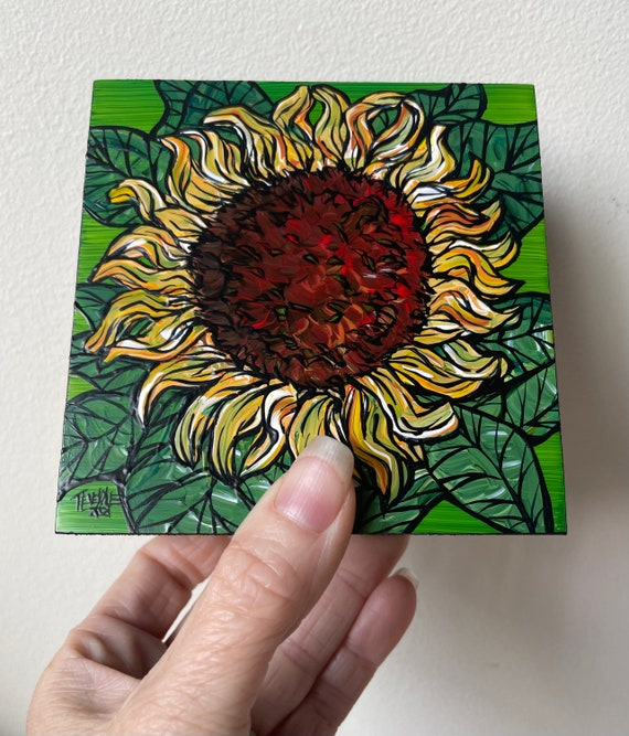 """4x4"""" Sunflower on Green original acrylic painting by Tracy Levesque"""
