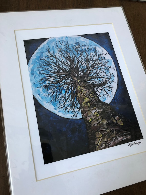 "To the Moon 11x14"" matted giclee print by Tracy Levesque (print size is approximately 8x10"" inside 11x14"" mat)"
