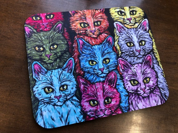 Rainbow Cats of a Different Color Whimsical Mousepad Perfect Gift for Cat Lovers