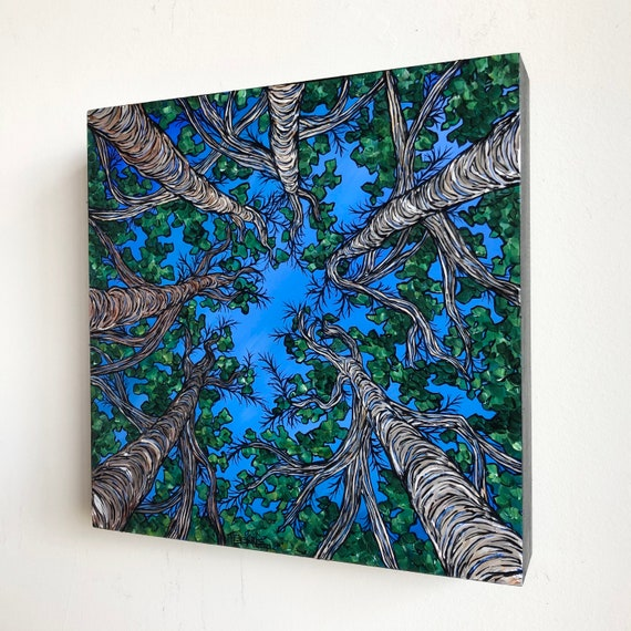 """10x10"""" Beneath the Birch Canopy Looking Up at the Trees original acrylic painting by Tracy Levesque"""