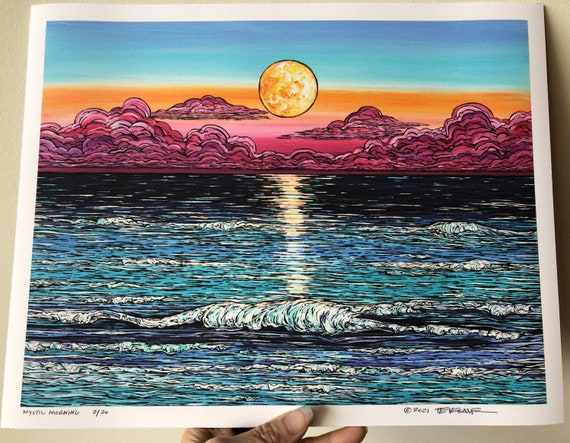 """11x14"""" Giclee Fine Art print of Mystic Morning Seascape by Tracy Levesque"""