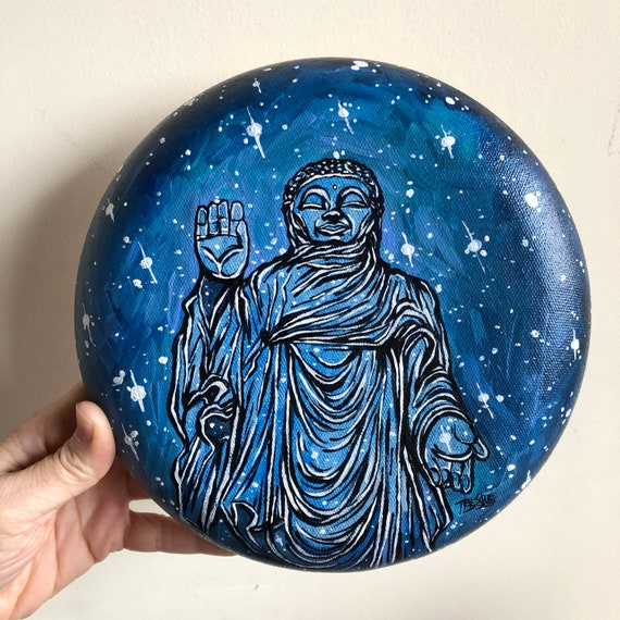 """Blue Bliss Buddha original acrylic painting on 8"""" Round Convex Canvas by Tracy Lévesque"""