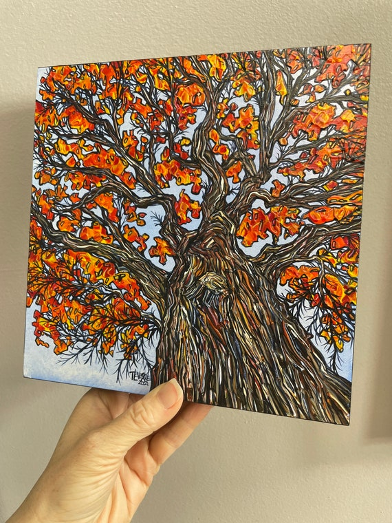 """8x8"""" Autumn Oak Tree Looking up the tree Fall Foliage New England painting by Tracy Levesque"""