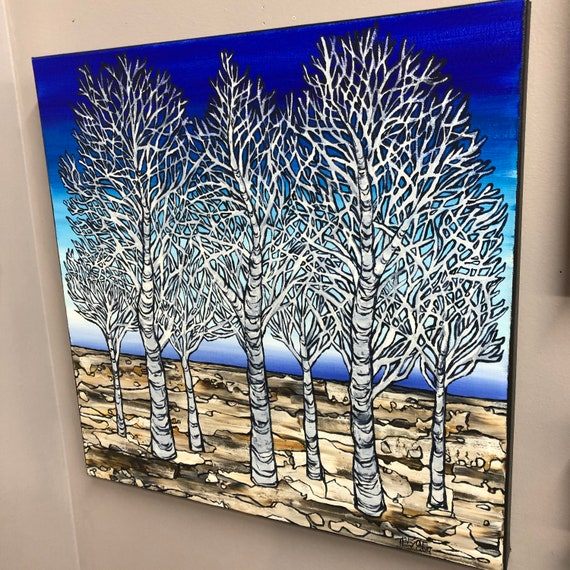 """Tranquility, 20x20"""" original acrylic painting by Tracy Levesque"""