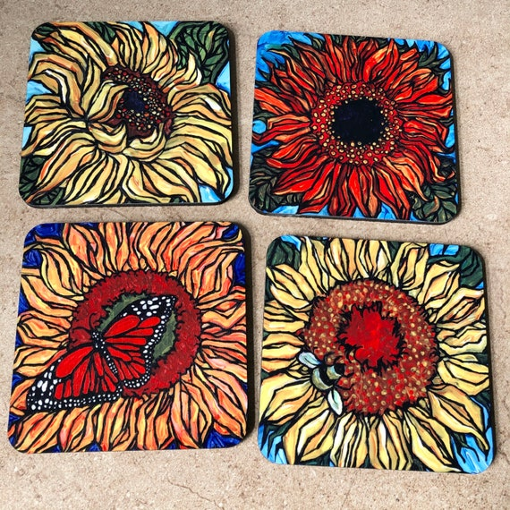 Happy Sunflowers Flower Lover - Coaster Set of 4 featuring artwork by Tracy Levesque