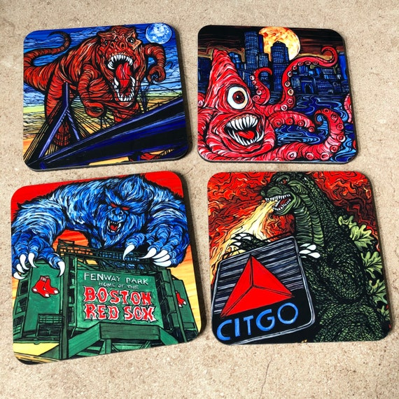 Monsters Attack Boston - Coaster Set of 4 Featuring Artwork By Tracy Levesque