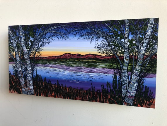 "8x16"" Sunset New England Lake Scene beautiful original landscape painting by Tracy Levesque"