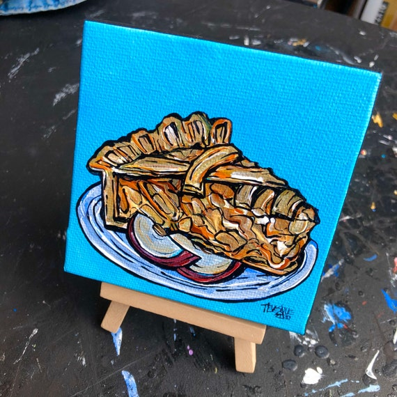 """4x4"""" Apple Pie mini painting on easel by Tracy Levesque"""
