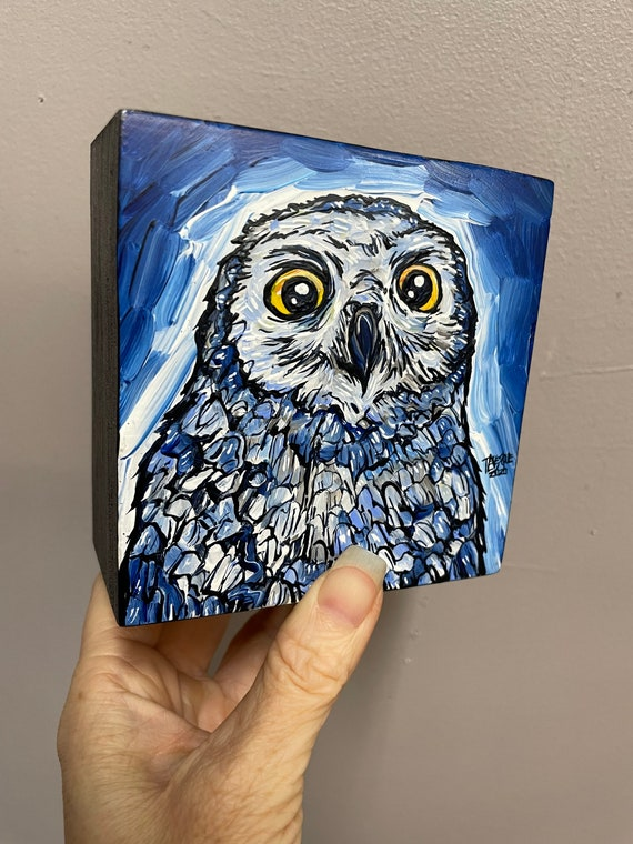 """4x4"""" Big Eyes snowy owl painting by Tracy Levesque"""