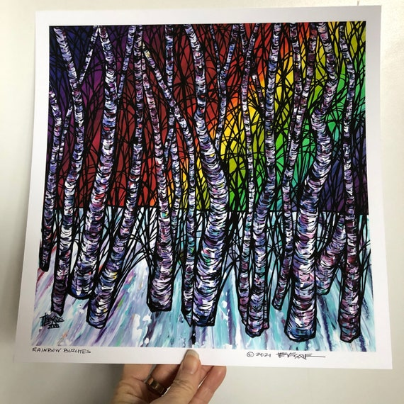 """12x12"""" Rainbow Birches gorgeous fine art giclee print featuring artwork by Tracy Levesque"""