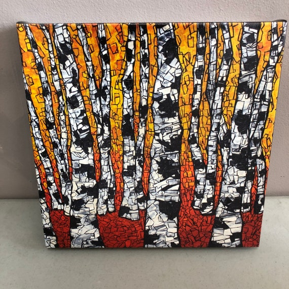 """12x12"""" Fiery Aspens Giclee print on canvas by Tracy Levesque"""