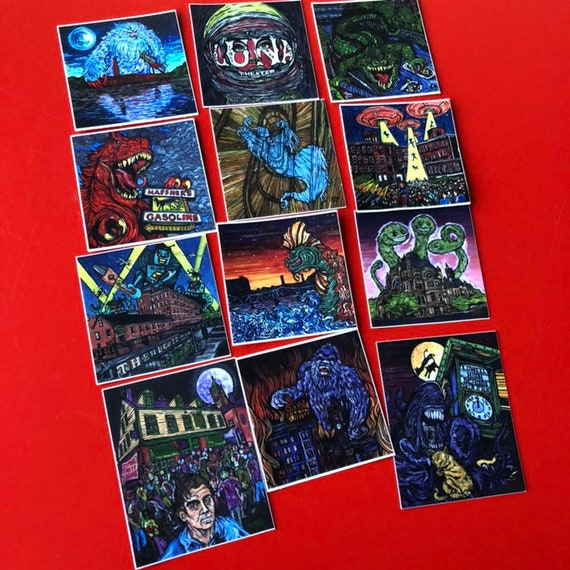 """Set of 12 Stickers featuring the Mill City Monster Series by Tracy Levesque - Each sticker is 2x2"""""""