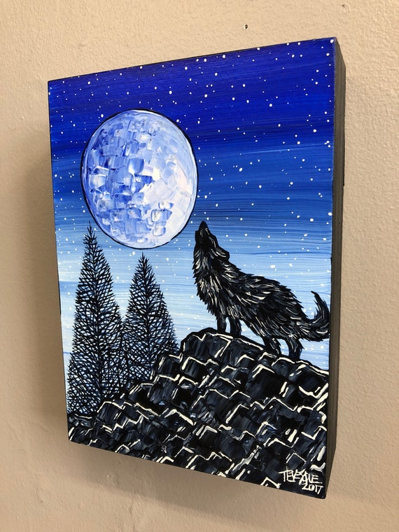 Howling Wolf Moon, original acrylic painting by Tracy Levesque