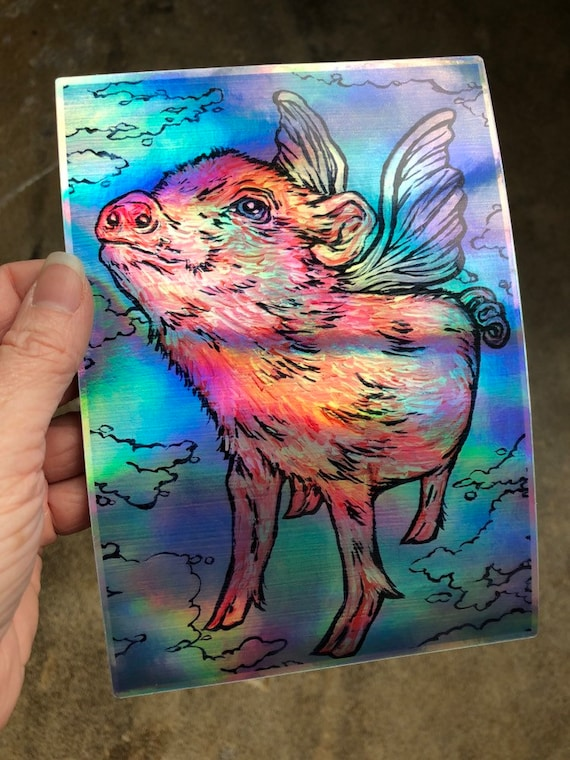 """5x7"""" Flying Pig Holographic Sticker by Tracy Levesque"""