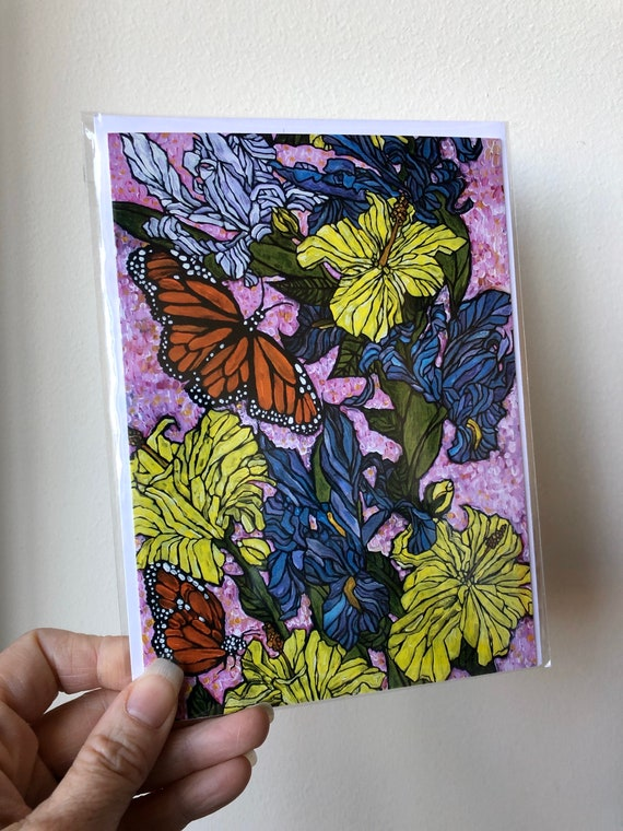"""5x7"""" Butterflies and Flowers greeting card featuring artwork by Tracy Levesque"""