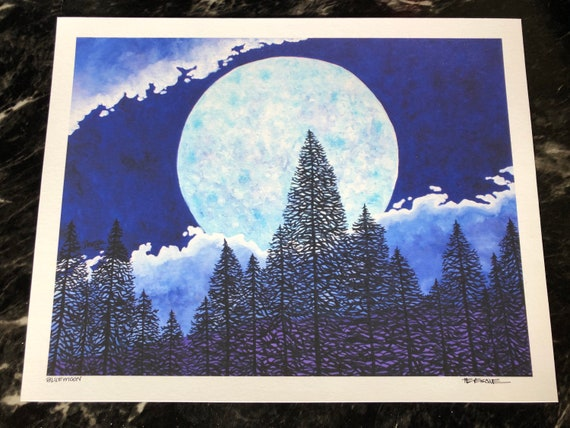 "Blue moon - super moon 11x14"" fine art giclee print by Tracy Levesque"