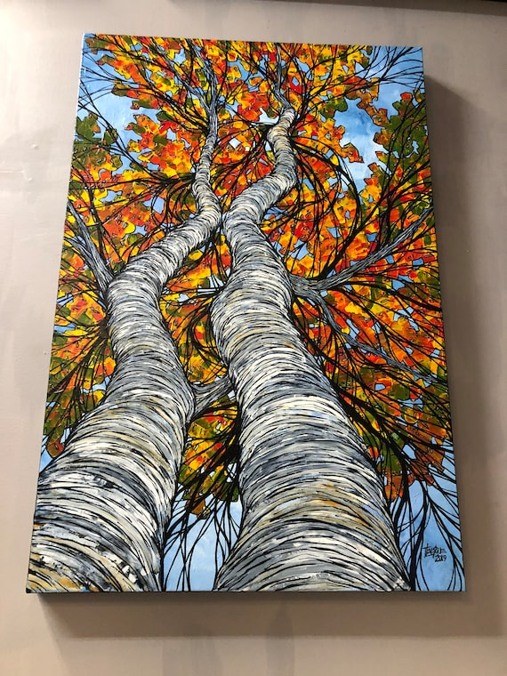 "36x24"" Massachusetts Birch Pair Looking Up Into the Trees original acrylic painting by Tracy Levesque"