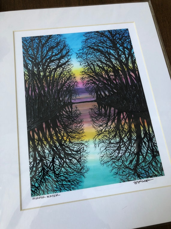 "11x14 Matted giclee print of Mirror Water by Tracy Levesque (print size is approximately 8x10"" inside 11x14"" mat)"