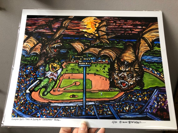 """11x14"""" Limited Edition Print of Vampire Bats Take a Swing at LeLacheur Park, Lowell, MA by Tracy Lévesque"""