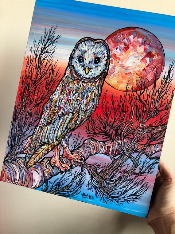 """Keeper of the Dawn, beautiful 11x14"""" original acrylic painting of an owl by Tracy Levesque"""