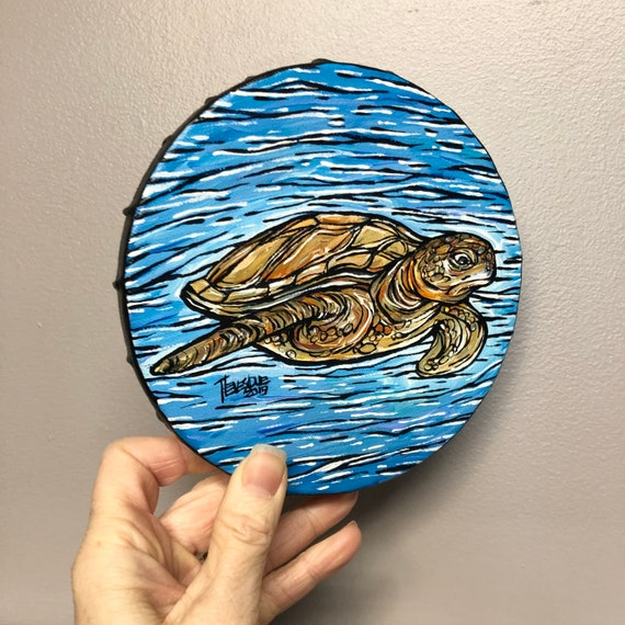 """6"""" Round Grumpy Sea Turtle original acrylic painting by Tracy Levesque"""