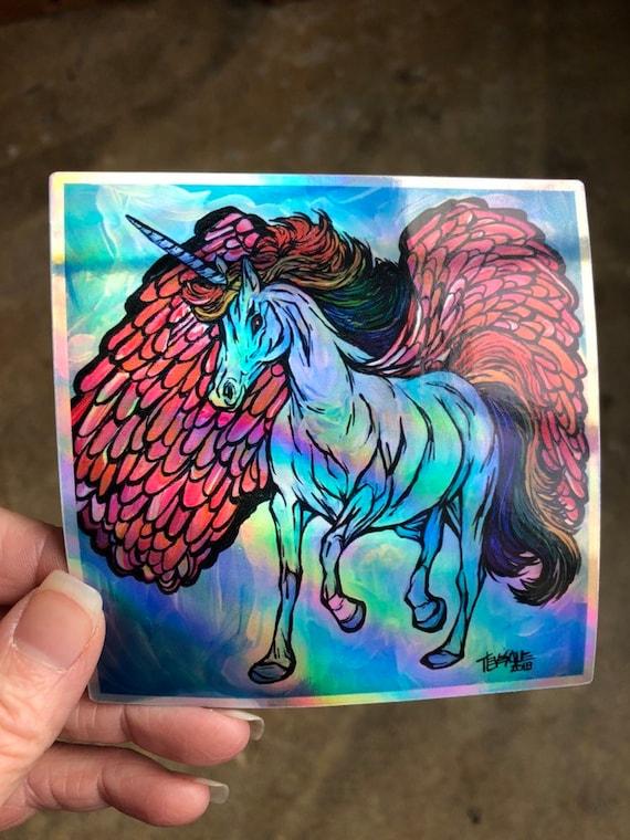 "4x4"" Rainbow Unicorn Pegasus Holographic Sticker by Tracy Levesque"