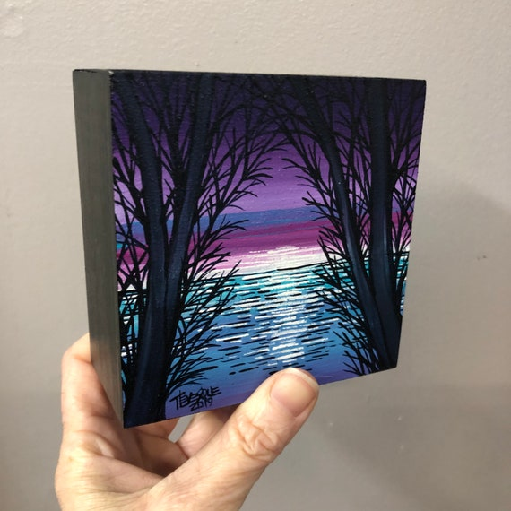 """4x4"""" Purple Dawn original painting by Tracy Levesque"""