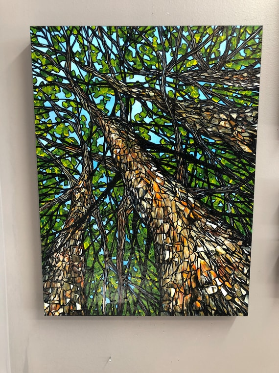 """Up in the Hickory Trees, 18x24"""" Original Acrylic Painting by Tracy Levesque"""