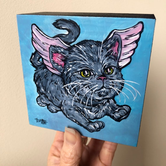 """4x4"""" Flying Cat Gray Pegapuss Whimsical original acrylic painting by Tracy Levesque"""